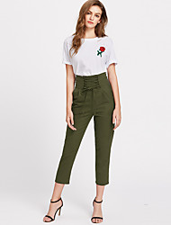 cheap -Women's Mid Rise Micro-elastic Straight Chinos Pants,Street chic Solid Spandex Spring Summer