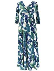 economico -Fodero Vestito Da donna-Casual Moda città Con stampe A V Maxi Manica a 3/4 Cotone Poliestere Autunno A vita medio-alta Elasticizzato
