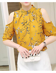 Women's Casual/Daily Simple Blouse,Solid Print Crew Neck Half Sleeves Cotton