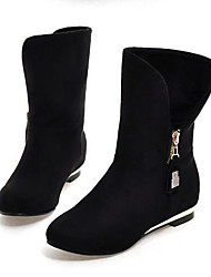 Women's Shoes Nubuck leather Fall Winter Comfort Fashion Boots Boots For Casual Black Red Blue