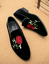 cheap -Men's Shoes Suede Spring Fall Comfort Loafers & Slip-Ons Satin Flower For Casual Black