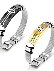 cheap -European and American stainless steel accessories cross steel mesh belt stainless steel men's bracelet with bracelet