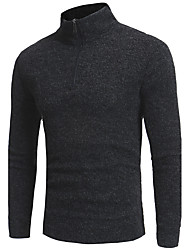 cheap -Men's Daily Long Pullover,Solid Round Neck Long Sleeves Polyester Winter Fall Thick Micro-elastic