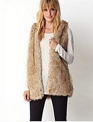 Women's Going out Casual/Daily Simple Fall Winter Vest,Solid Hooded Sleeveless Regular Faux Fur Acrylic