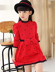 Girl's Solid Patchwork Dress,Wool Cotton Spring Fall Long Sleeve Bow Red Navy Blue
