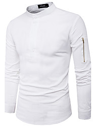 Men's Going out Work Simple Fall Shirt,Solid Stand Long Sleeves Cotton