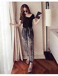 abordables -Mujer Simple Casual/Diario Verano T-Shirt Pantalón Trajes,Hombros Caídos Un Color Patrón Manga Corta