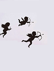 cheap -Three Cute Angels Wall Stickers Vinyl Angels Shot Arrows Bows Wall Decals Home Decor For Kids Baby Room Living Room