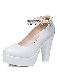 cheap -Women's Shoes Synthetic Microfiber PU Spring Fall Basic Pump Heels Platform Pointed Toe Imitation Pearl Magic Tape for Wedding Party &