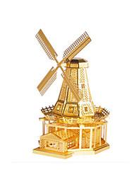 Недорогие -Игрушечные машинки Пазлы Металлические пазлы Мельницы Ветряная мельница Знаменитое здание 3D Своими руками Медь Металл Универсальные