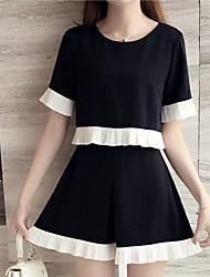 Women's Work Simple Summer T-shirt Skirt Suits,Black & White Round Neck ½ Length Sleeve