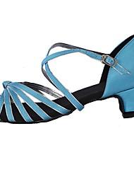 Da donna Balli latino-americani Seta Tacchi Esibizione Con fermaglio di chiusura Tacco su misura Blu Personalizzabile