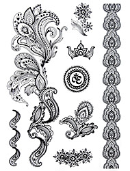 cheap -BlackLace Henna Indian Body Temporary Sexy Tattoos Sticker For Women,Teens,Girls(8 Patterns in 1 Sheet) J021