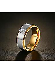 cheap -Men's AAA Cubic Zirconia Band Ring - Vintage, Fashion 8 / 10 / 11 / 12 Gold For Wedding Engagement Ceremony