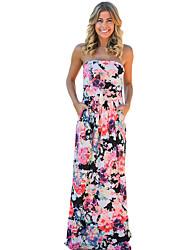 baratos -Mulheres Praia Bandagem Para Noite Feriado Boho Bainha Vestido Floral Sem Alças Cintura Alta Longo