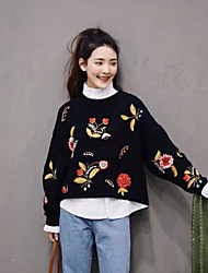 cheap -Women's Daily Going out Cute Casual Regular Pullover,Print Round Neck Long Sleeves Cotton Spring Fall Thin Medium Micro-elastic