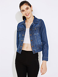 cheap -Women's Cute Chic & Modern Denim Jacket-Solid Colored,Classic Style