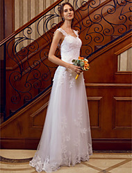 cheap -A-Line Straps Floor Length Lace Over Tulle Custom Wedding Dresses with Appliques Lace by LAN TING BRIDE®