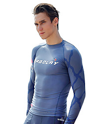 SABOLAY Men's Dive Skins Wetsuit Top Boating Fast Dry Ultraviolet Resistant Elastane Terylene Diving Suit Long Sleeves Rash guard Tops-