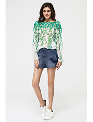 Women's Going out Holiday Sophisticated Spring Fall Blouse,Galaxy Boat Neck Long Sleeves Polyester Medium