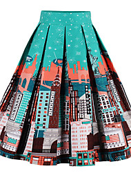 cheap -Women's Daily Holiday Midi Skirts A Line Cotton Geometric Spring Summer Fall