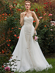 cheap -Mermaid / Trumpet Sweetheart Court Train Lace Organza Custom Wedding Dresses with Beading Appliques by LAN TING BRIDE®