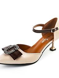 cheap -Women's Heels Comfort Summer PU Dress Buckle Kitten Heel Black Beige Brown 1in-1 3/4in