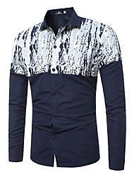 Men's Large Size Printing Long-Sleeved Shirt
