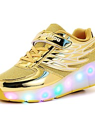 Girls' Sneakers Comfort Tulle Spring Fall Casual Lace-up Flat Heel Gold Black Silver Fuchsia Flat