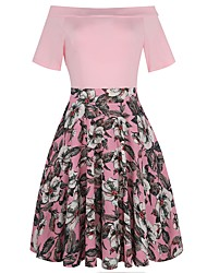 Women's Party Daily Going out Vintage Sexy Street chic Sheath Swing Dress,Floral Patchwork Boat Neck Knee-length Short Sleeves Cotton