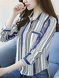 cheap -Women's Daily Going out Casual Boho Blouse,Striped V Neck Long Sleeves Cotton