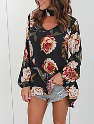 T-shirt Da donna Per uscire Casual Sensuale Romantico Autunno Inverno,Con stampe Rotonda Cotone Manica lunga Medio spessore