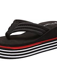 Women's Slippers & Flip-Flops Slippers Fall Winter PU Casual Flat Heel Ruby Black White Flat