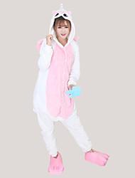 cheap -Adults' Kigurumi Pajamas with Slippers Unicorn Onesie Pajamas Costume Flannel Fabric Blue / Pink / Yellow Cosplay For Animal Sleepwear Cartoon Halloween Festival / Holiday / Christmas