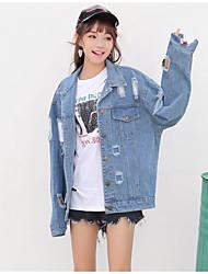 abordables -Veste en jean Femme,Couleur Pleine Quotidien Chic de Rue Printemps Automne Manches longues Col de Chemise Normal Coton
