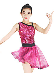 cheap -Jazz Leotards Outfits Two Pieces Tutus & Skirts Women's Performance Elastic Lycra Paillette Sleeveless Natural Skirts Leotard / Onesie