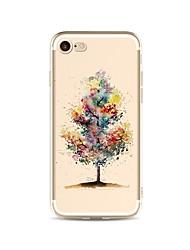 Capinha Para Apple iPhone X iPhone 8 Plus Transparente Estampada Capa Traseira Cores Gradiente Árvore Macia TPU para iPhone X iPhone 8
