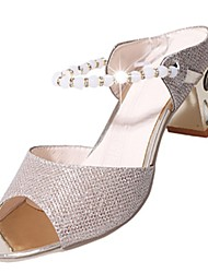 cheap -Women's Shoes PU Summer Light Soles Sandals Block Heel Open Toe Imitation Pearl for Casual Gold Silver