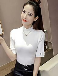 Corto Pullover Da donna-Casual Tinta unita A collo alto Mezza manica Altro Primavera Medio spessore Media elasticità