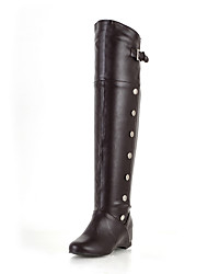 cheap -Women's Shoes Leatherette Winter Riding Boots Fashion Boots Slouch Boots Boots Wedge Heel Round Toe Over The Knee Boots Buckle for Casual