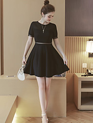 Women's Casual/Daily A Line Dress,Solid Round Neck Above Knee Short Sleeves Polyester Summer High Rise Inelastic Medium