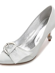 Women's Wedding Shoes Comfort Basic Pump Spring Summer Satin Wedding Dress Party & Evening Bowknot Buckle Ruffles Flower Low Heel Kitten