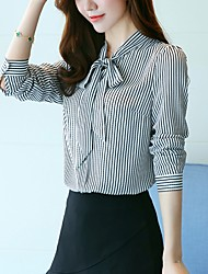 cheap -Women's Daily Going out Casual Boho Blouse,Striped Round Neck Long Sleeves Cotton