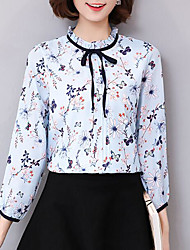 cheap -Women's Casual Chic & Modern Blouse - Multi Color, Print Round Neck