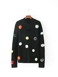 Standard Pullover Da donna-Per uscire Casual Semplice Tinta unita Monocolore Colletto alla coreana Manica lunga Cashmere AltroPrimavera