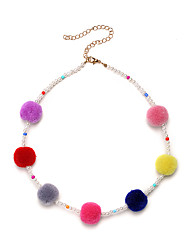 abordables -Femme Balle Obsidienne Imitation de perle Collier court / Ras-du-cou Colliers chaînes  -  Sexy Fait à la Main Le style mignon Arc-en-ciel