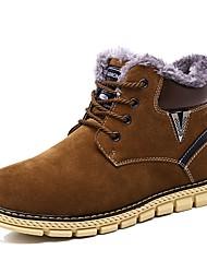 Men's Boots Snow Boots Bootie Light Soles Winter Suede Casual Outdoor Office & Career Flat Heel Brown Navy Blue Flat