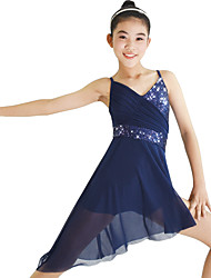cheap -Ballet Dresses Women's Performance Elastic Lycra Paillette Ruffles Sleeveless Natural Dress Headwear