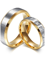 cheap -Couple's Couple Rings AAA Cubic Zirconia Fashion Simple Style Elegant Titanium Steel Circle Jewelry Wedding Engagement Daily Ceremony