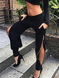abordables -Mujer Sensual Chic de Calle Tiro Medio Microelástico Delgado Chinos Pantalones,Un Color Poliéster Otoño